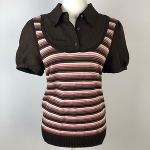 TORY BURCH Blouse Knitted Vest Brown/Orange L